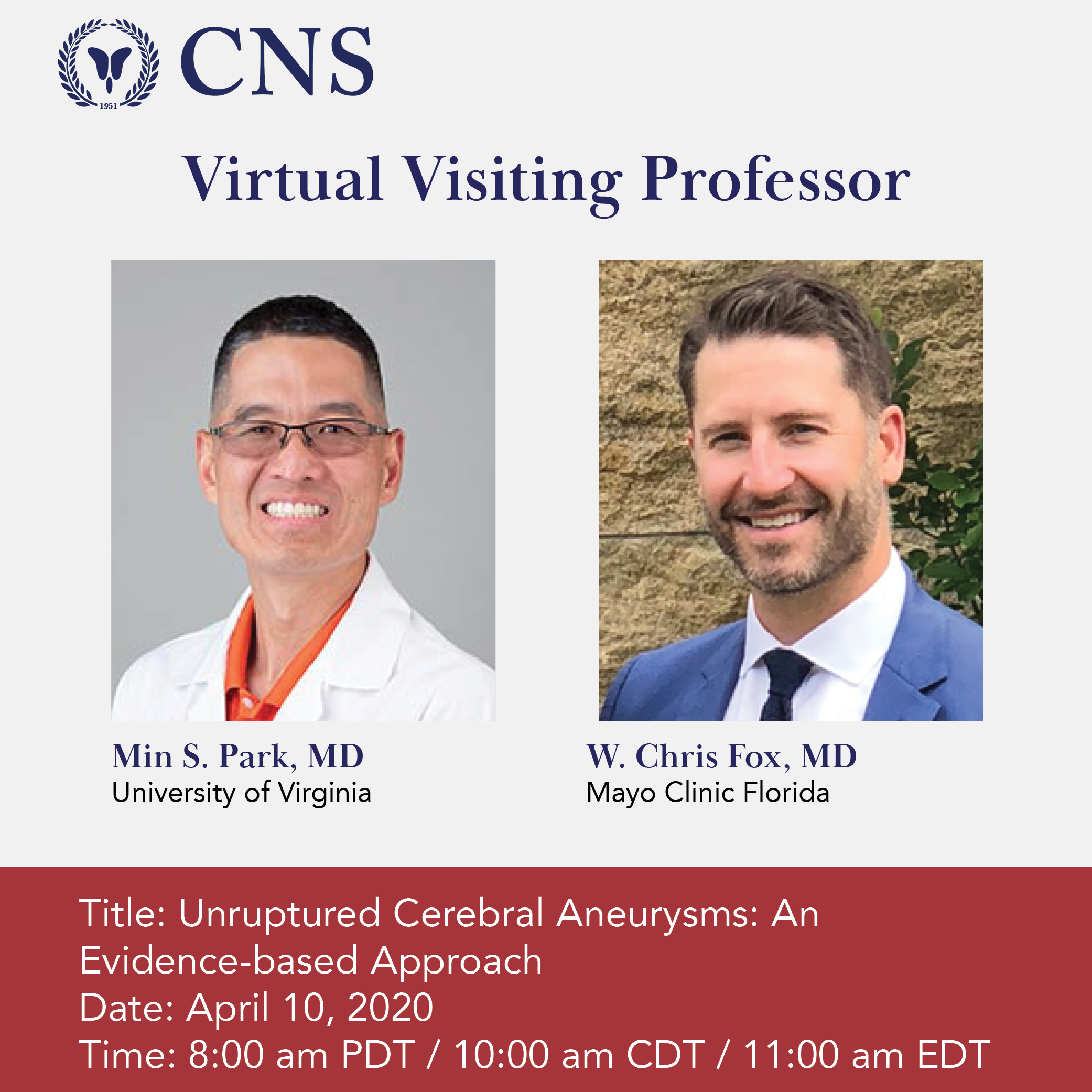 CNS Virtual Visiting Professor neurosurgery conference 2020