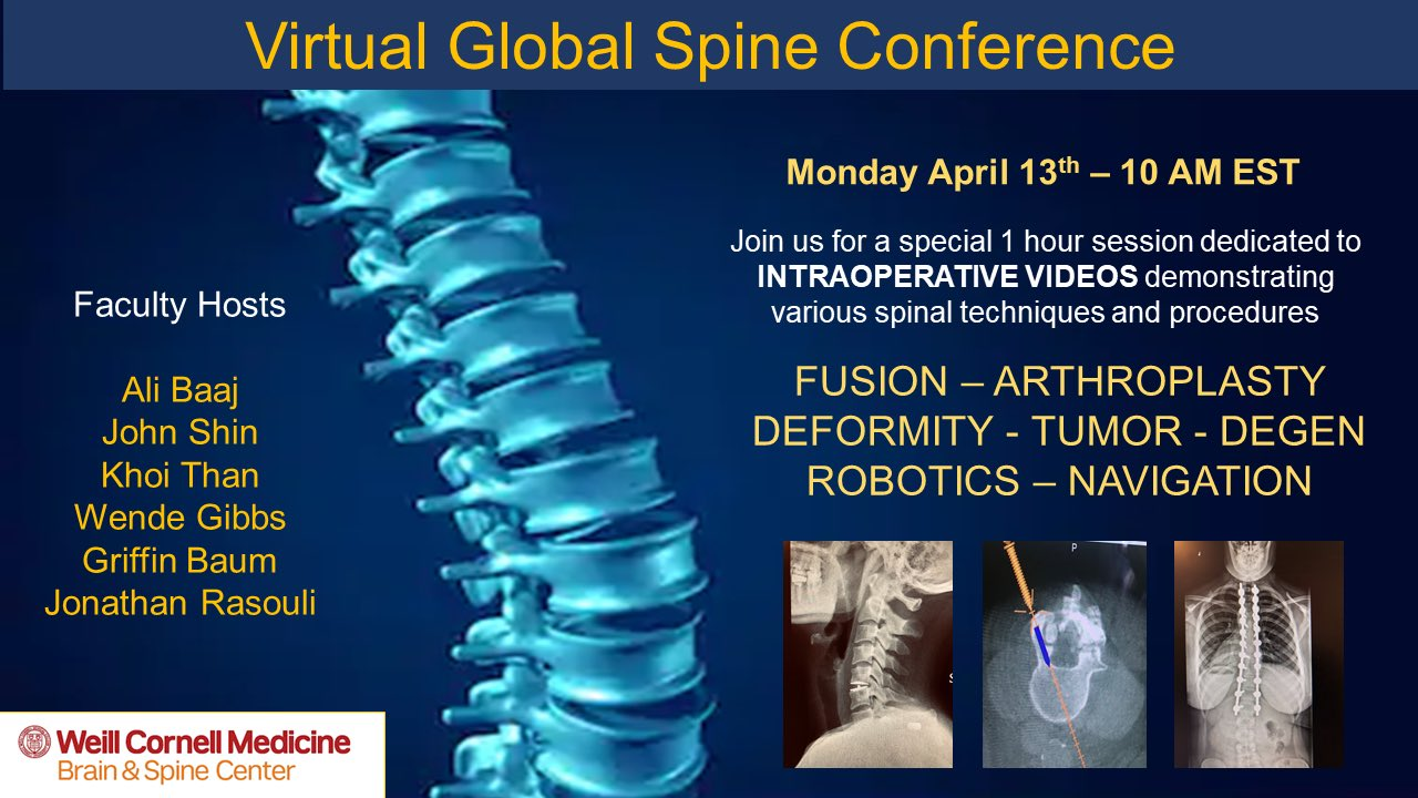 Virtual Global Spine Conference 2020 neurosurgery conference